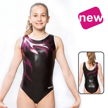 Leotard in Metallic Elasthan/Glitter Print